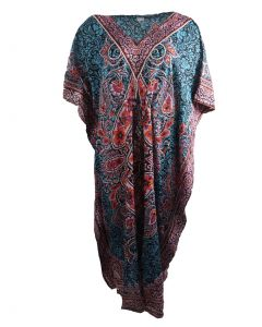 Turquoise kaftan met mixed design in oranje