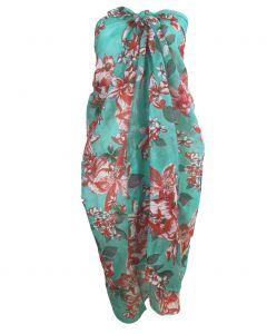 Mintgroene sarong met bloemenprint