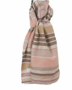 Linnen sjaal met strepen in zalmroze en bruin
