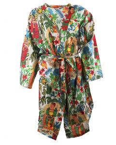 Witte katoenen kimono met Frida Kahlo print