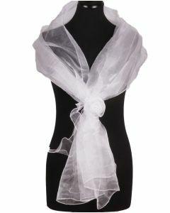 Witte organza stola met corsage op strikband