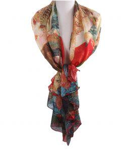 Zijden sjaal/stola met schildering van Gustav Klimt