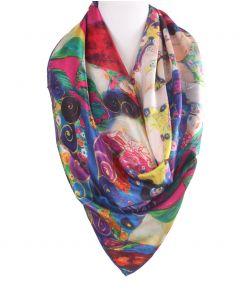"Vierkante zijden sjaal met print van ""Die Jungfrau"" van Gustav Klimt"