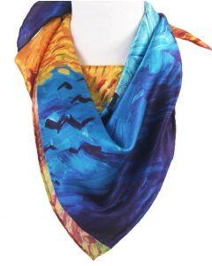Zijden sjaal met de print van ''Korenveld met kraaien'' van Gogh