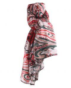 Zijden stola/sjaal met ornament print in rood en taupe