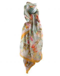 Zijden mintgroene sjaal/stola met bloemenprint