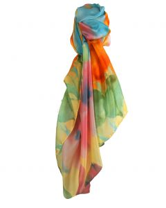 Zijden-blend sjaal met kleurrijke aquarel bloemenprint
