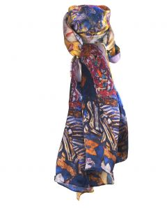 Zijden sjaal met afbeelding van ''Lady with Fan'' van Gustav Klimt