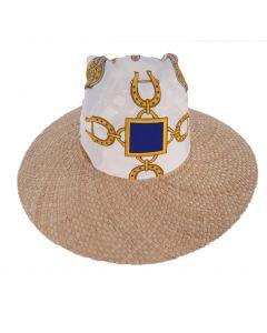 Naturel stro gevlochten hoed met sjaaltje
