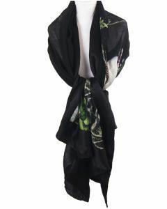 Zwarte sjaal / stola met print van vogels en bloesemtakken