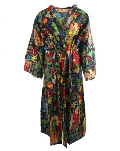Lange zwarte katoenen kimono met Frida Kahlo print