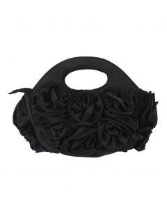 Zwart satijnen avondtasje met rozen
