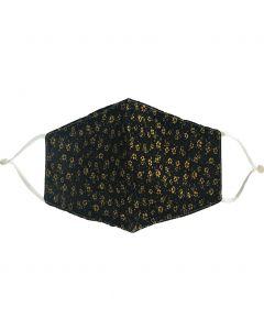Zwart katoenen mondkapje met bloemenprint