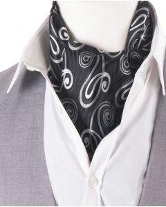 Set met zwarte-zilvergrijze cravat + pochet