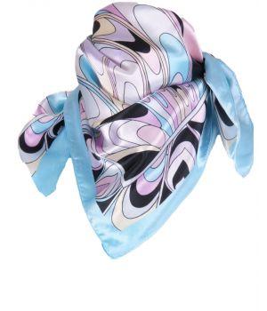 Turquoise satijnen sjaaltje met print in pastel-tinten