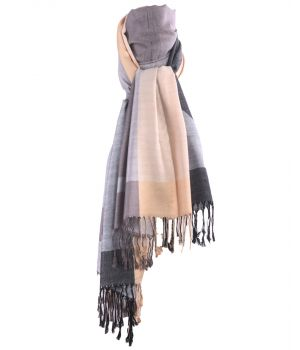 Pashmina sjaal met kleurvlakken in champagne en grijs-tinten
