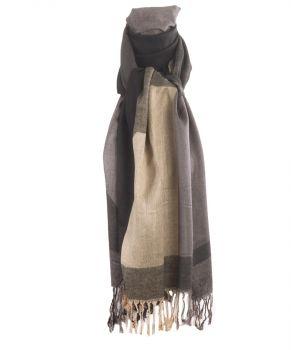 Pashmina sjaal met kleurvlakken in lichtbeige