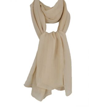 Licht beige crushed crêpe sjaal
