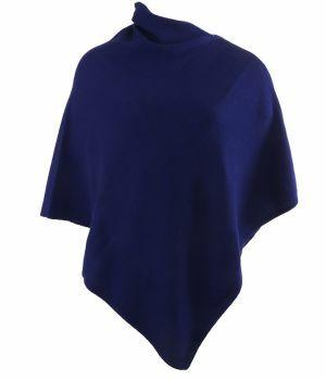 Kasjmier-blend poncho in koningsblauw