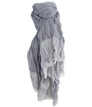 Gecrushte sjaal met strepen in blauw-tinten