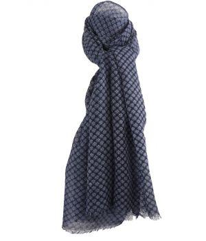 Donkerblauwe luchtige wollen mousseline sjaal met dessin