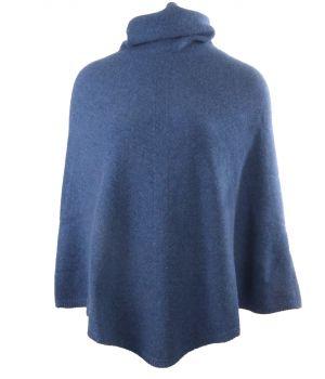Jeansblauwe poncho met col van 100% kasjmier