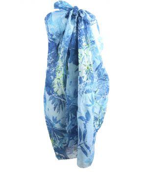 Sarong met floral print in blauw-tinen