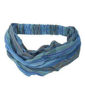Katoenen haarband met strepen in blauw
