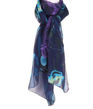 Marineblauwe crêpe voile sjaal met abstracte bloemen print