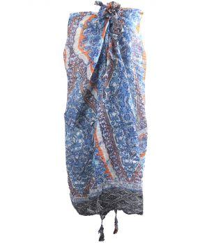 Blauwe gecrushte pareo met ornament- en bloemenprint