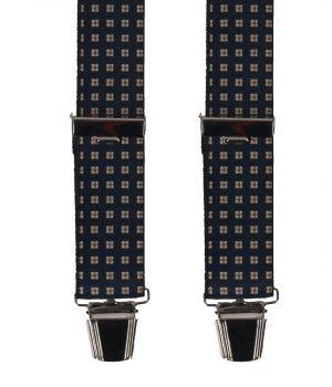 Donkerblauwe bretels met zwart-witte blokjes