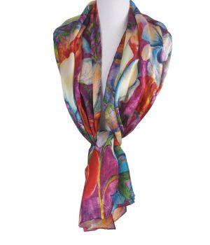 Zijden sjaal met rozenprint