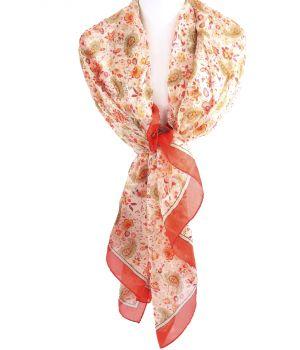 Zijden sjaal/stola met bloemen- en paisley print