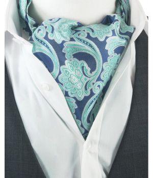 Blauw-groene Ascot Cravat met paisley design