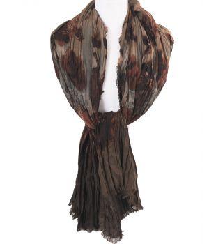 Bruin-beige kleurige geplisseerde sjaal