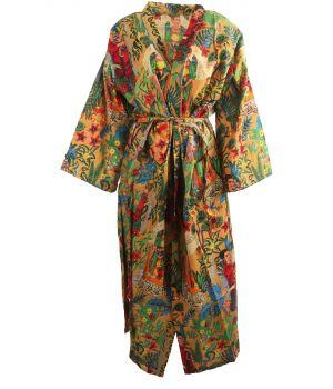 Lange camelkleurige katoenen kimono met Frida Kahlo print