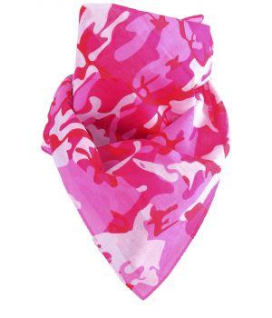 Boerenzakdoek / bandana met camouflage print in roze