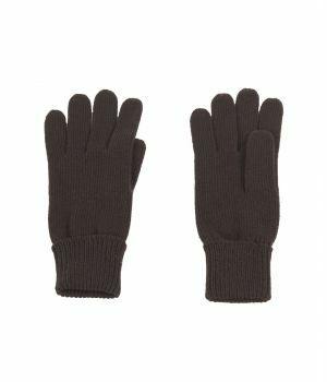 Fijngebreide handschoenen in donkerbruin