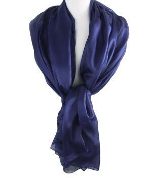 Zijden stola/sjaal in donkerblauw