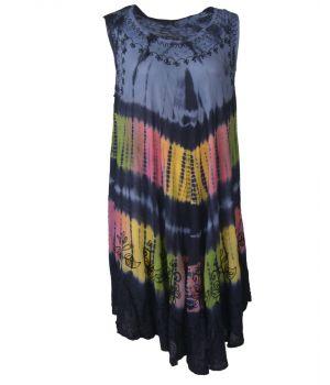 Donkerblauwe strandjurk met tie dye print