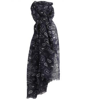 Luchtige donkerblauwe wollen mousseline sjaal met paisley print