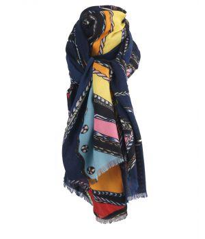 Donkerblauwe sjaal met paardenprint