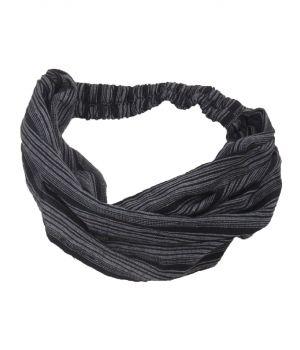 Katoenen haarband met strepen in grijs en zwart