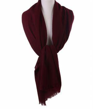 Wijnrode stola/sjaal van 100% kasjmier