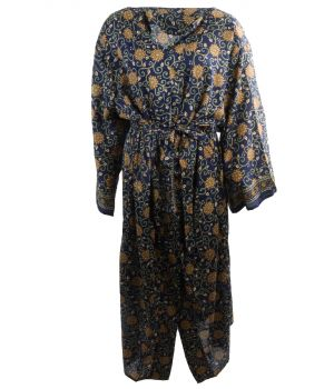 Lange zijde-blend kimono in marineblauw met ornament print