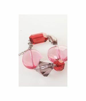 Armband in robijnrood, roze en antraciet