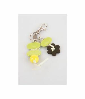 Tashanger met groene en gele kralen