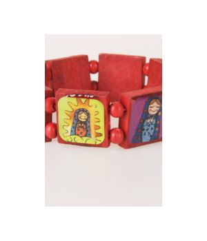 Donkerrode houten Ibiza stretch-armband met babuschka's