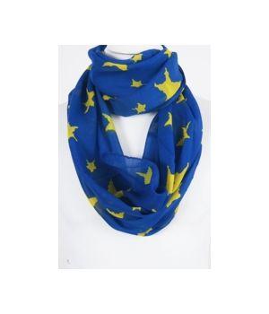 kobaltblauwe kolsjaal met gele sterren