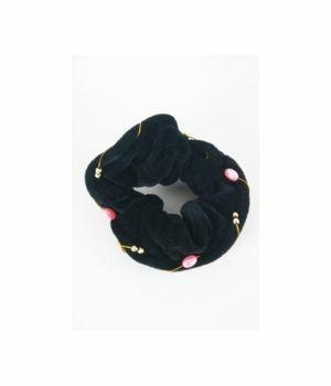 Zwart fluwelen haarelastiek met roze en zilveren kralen